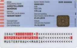 Muster Personalausweis Oesterreich