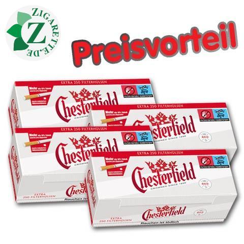 4 x Chesterfield Red Extra Zigarettenhülsen, 250er