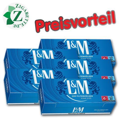 5 x L&M Blue Label Hülsen, 200er