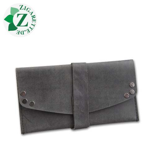 Feinschnitt-Tasche Leder Hunter schwarz, mit Wickelband