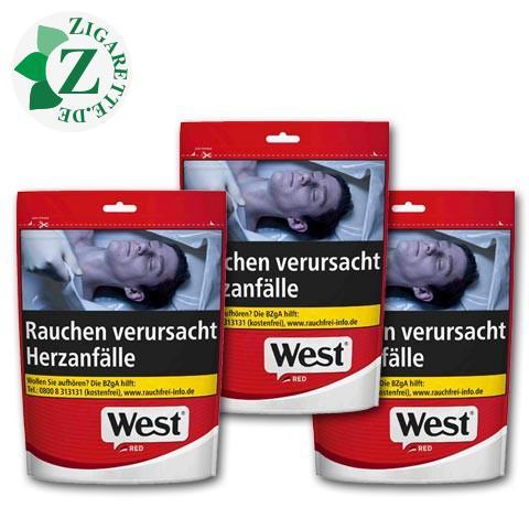 West Red Volume Tobacco, 3x105g Zip-Beutel