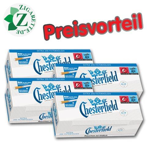 4 x Chesterfield Blue Extra Zigarettenhülsen, 250er